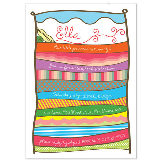 birthday party invitations - Princess and the Pea by Paper Stories