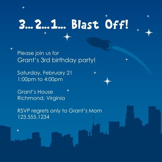 birthday party invitations - Blast Off! by keriberi