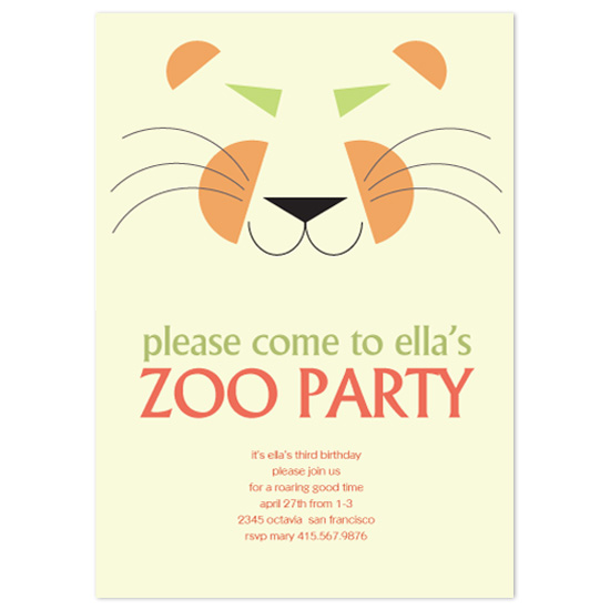 birthday party invitations - Zoo Party Tiger by Lois DeCastro, AfternoonArts