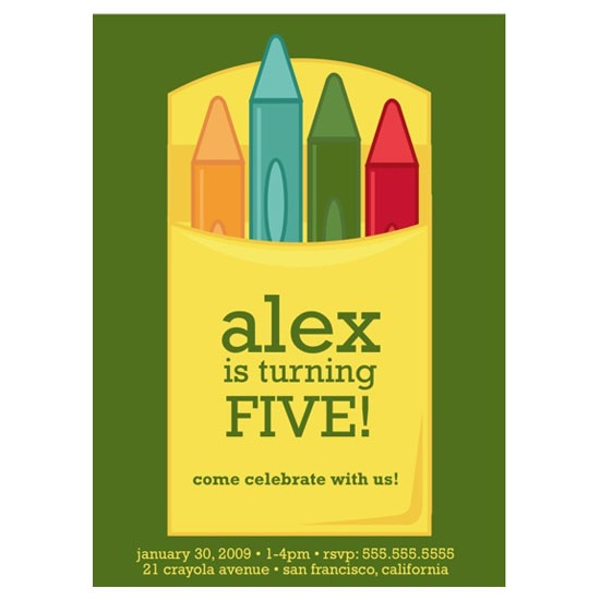 birthday party invitations - crayons! by keriberi