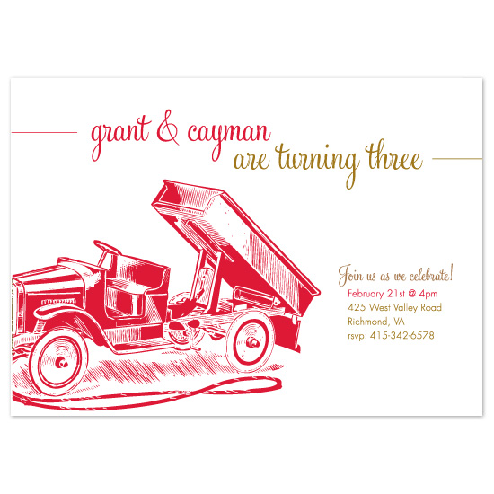 birthday party invitations - Dump Truck by Push Papers