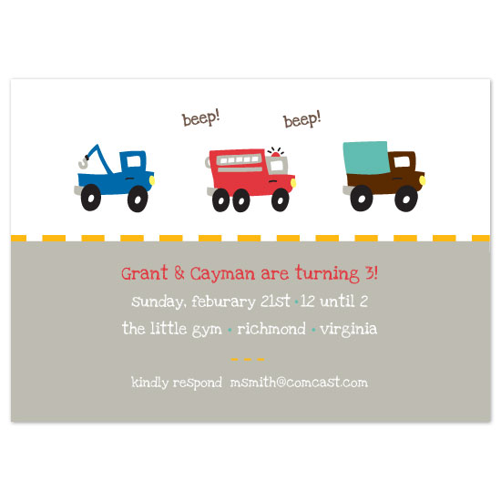 birthday party invitations - beep beep by dani notes