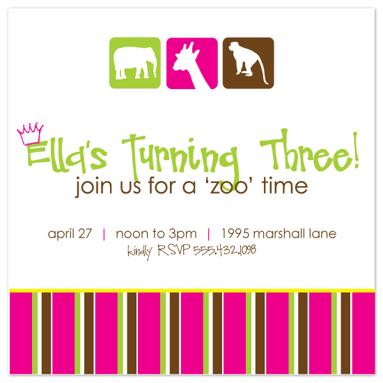 birthday party invitations - Vibrant Zoo by Blush Creative