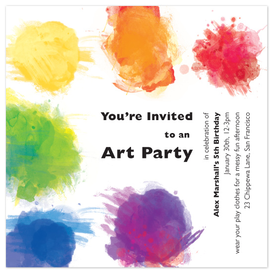 birthday party invitations - Artist's Palette by Candice Leigh
