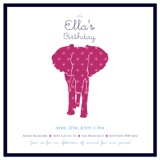 birthday party invitations - Marching Elephant by Candice Leigh