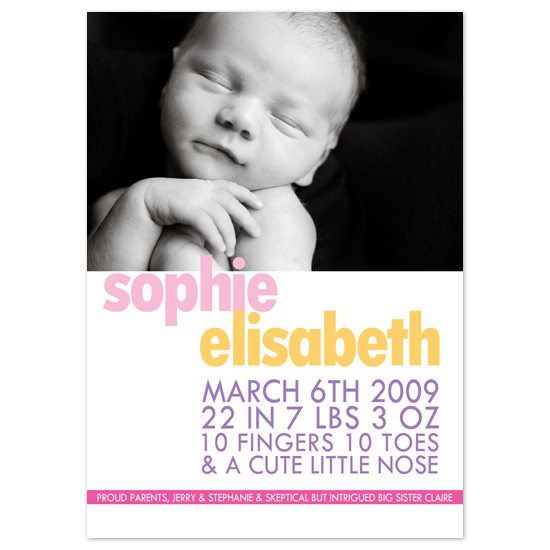 birth announcements - 10 fingers 10 toes by connors creative