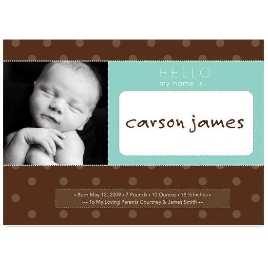 birth announcements - Hello My Name is...Dots by Kristin Chapman