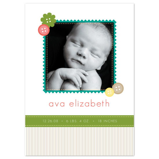 birth announcements - Cute as a Button by Sublime Design