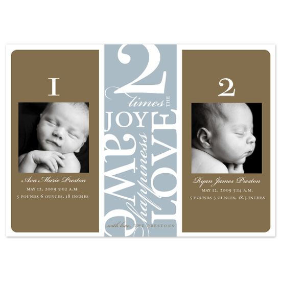 birth announcements - classic twins option 2 by pottsdesign