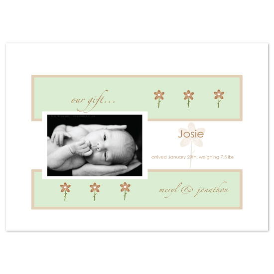 birth announcements - Minted Flowers by bean and pie designs