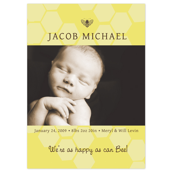 birth announcements - happy as can bee by connors creative