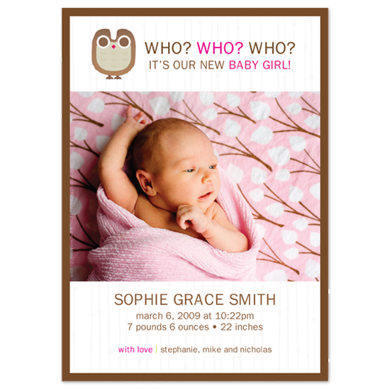 birth announcements - Who Who by Carman Design Studios