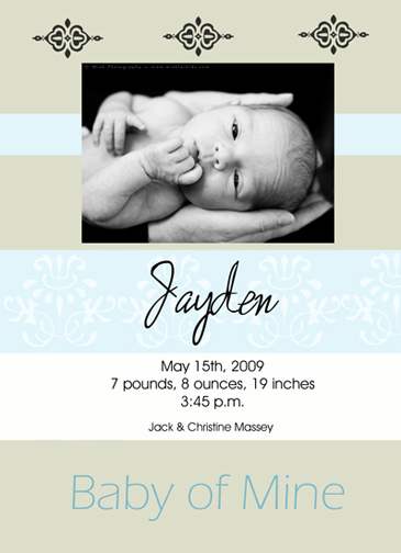 birth announcements - Baby of Mine by Carol