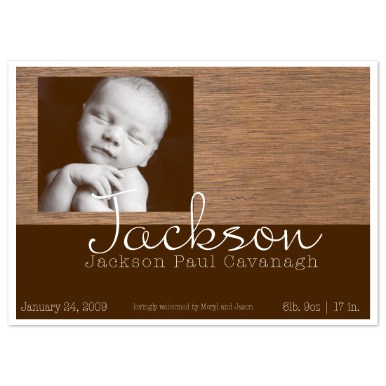 birth announcements - warm wooden welcome by Elsie Paper Atelier