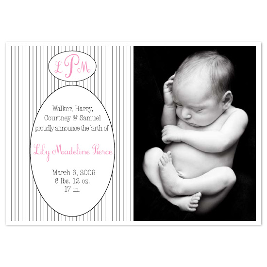 birth announcements - playful pinstripes by Elsie Paper Atelier