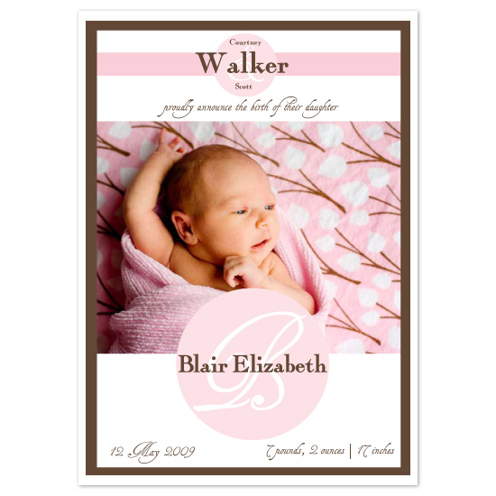 birth announcements - initial introduction by Elsie Paper Atelier