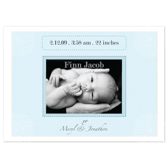 birth announcements - blue boy by bean and pie designs