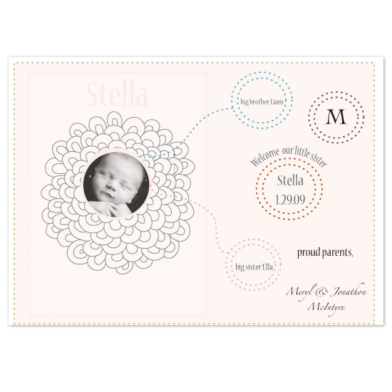 birth announcements - sweet siblings by bean and pie designs