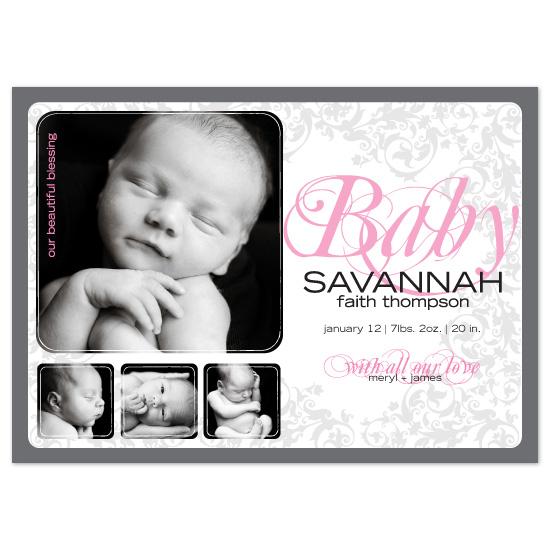 birth announcements - Savannah Faith by Blush Creative