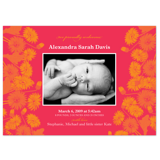birth announcements - Flower Power by Natalie Sullivan Graphic Design