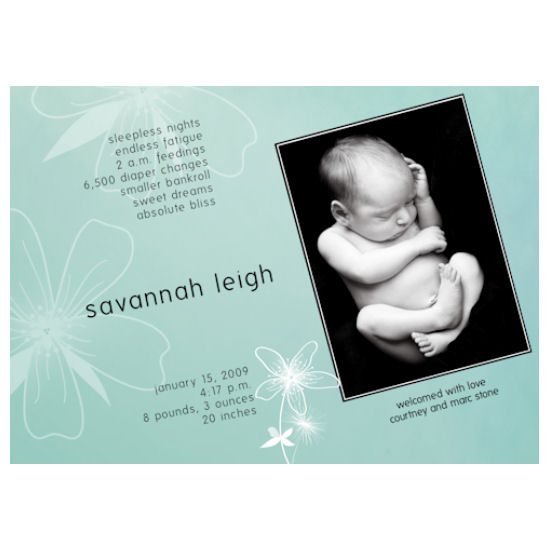birth announcements - Savannah Leigh by Grafik Expressions