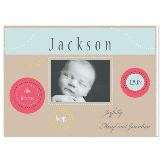 birth announcements - color circles by bean and pie designs