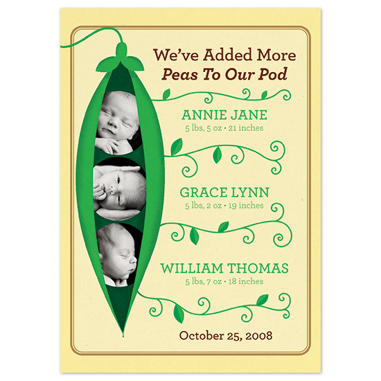 birth announcements - Pea Pod Triplets by John Coulter