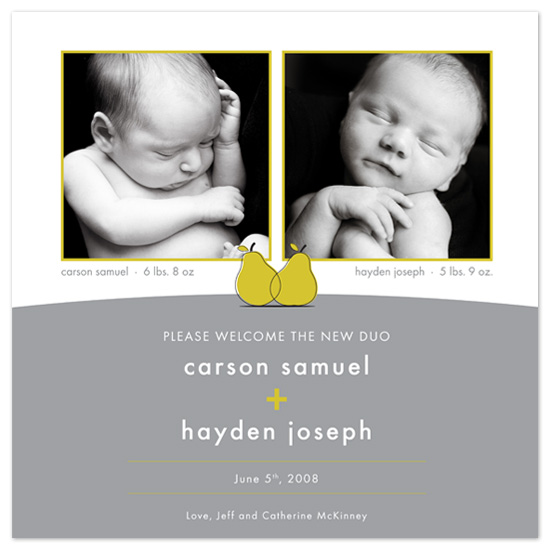 birth announcements - The New Duo by flock press
