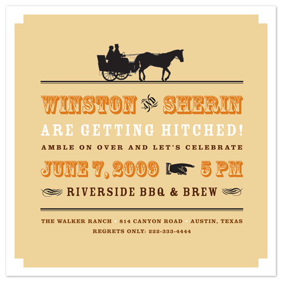 wedding stationery - Vintage Riverside BBQ by Amanda Larsen Design