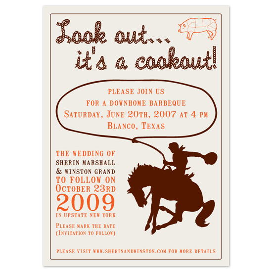 wedding stationery - lookout... its a cookout by Paper Stories