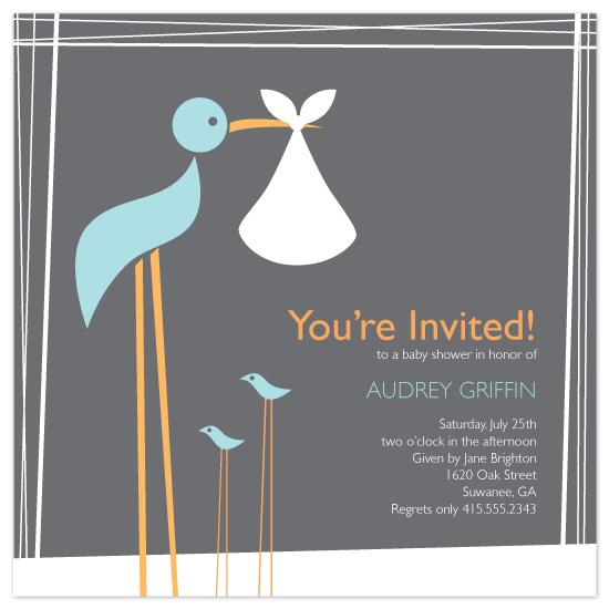 baby shower invitations - Momma Stork by Rebekah Canavan