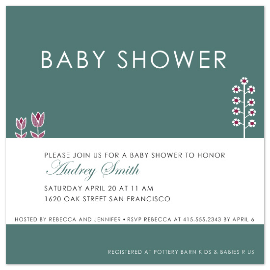 baby shower invitations - Clean flowers by Åsa Ranneby