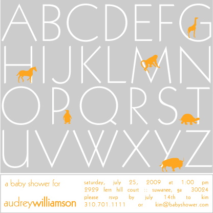 baby shower invitations - A B C D E F G by Mielle Design Studio