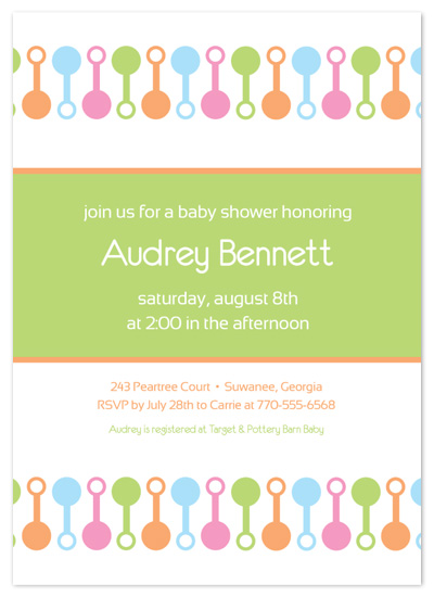 baby shower invitations - Rattle Mania by Lori Moore