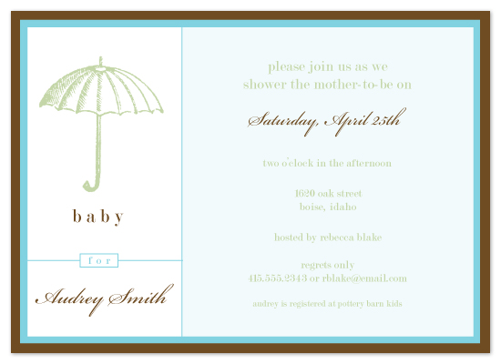 baby shower invitations - Umbrella by Whitney Beard