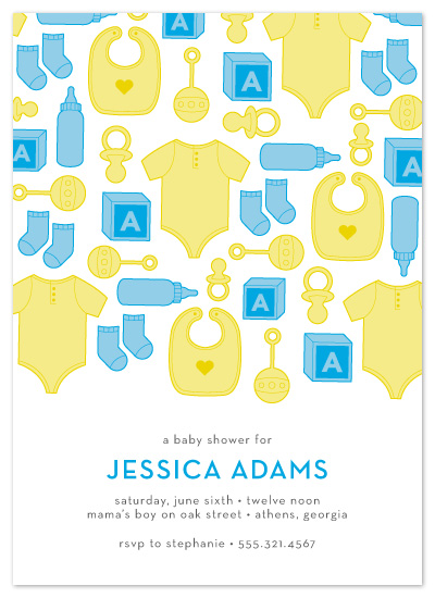 baby shower invitations - Showering Baby Icons by Maddy Hague