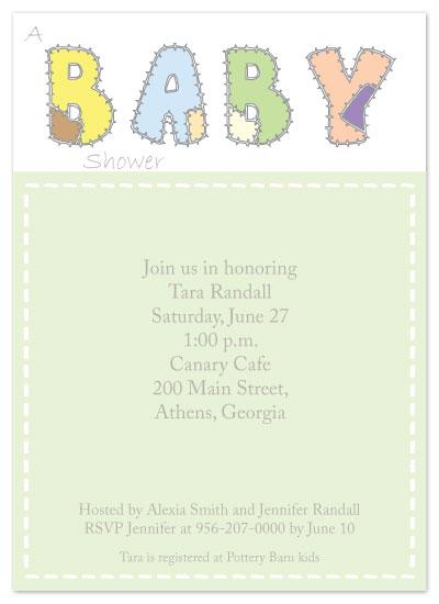 baby shower invitations - Patchwork Baby by Madhvi