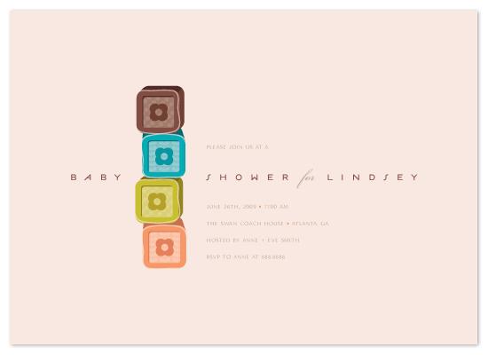 baby shower invitations - Soft Blocks by kelli hall
