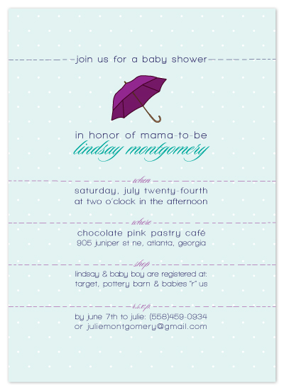 baby shower invitations - little umbrella by Candice Leigh