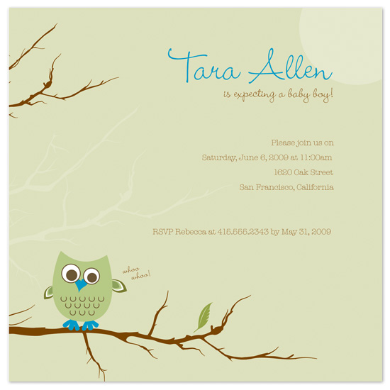 baby shower invitations - Cool Owl by Jayda