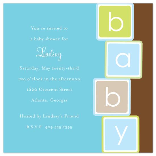 baby shower invitations - Baby Boy Blocks by Catherine