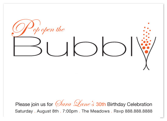 party invitations - Pop open the Bubbly by Sharon