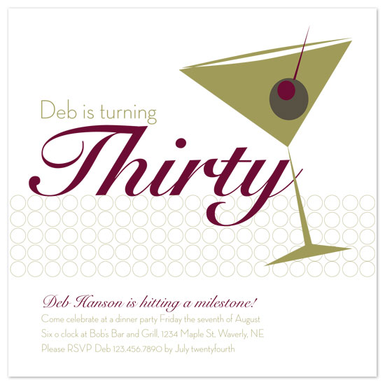 party invitations - Martini Glass by Amy