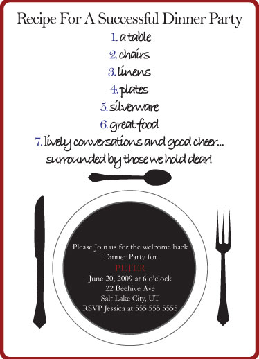party invitations - Recipe for a Dinner Party by Meggie Kaplan