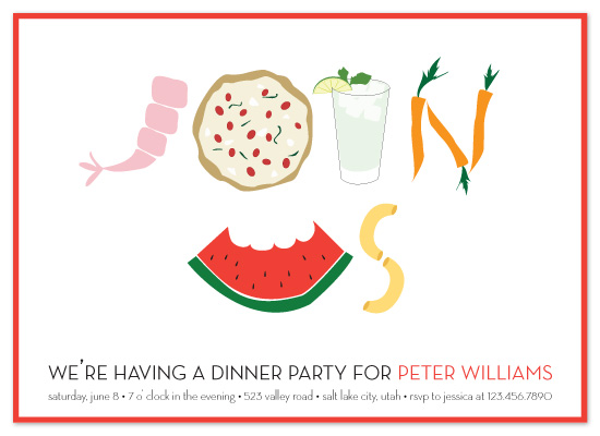 party invitations - food that makes a statement by sweet street gals