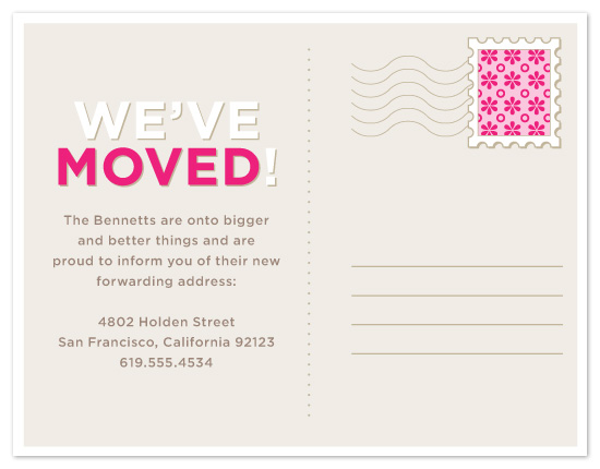 moving announcements - Patterned Stamp Postcard by Maddy