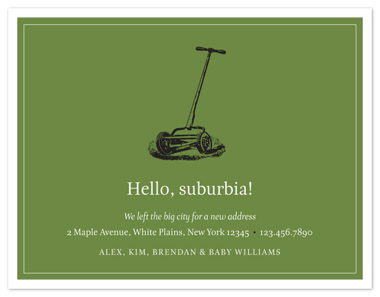 moving announcements - Welcome to Suburbia by Amanda Larsen Design
