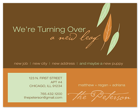 moving announcements - Turning over a new leaf by 2+1 Design