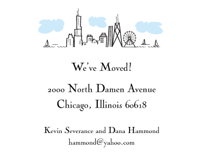 moving announcements - Chicago Skyline by elenteny designs