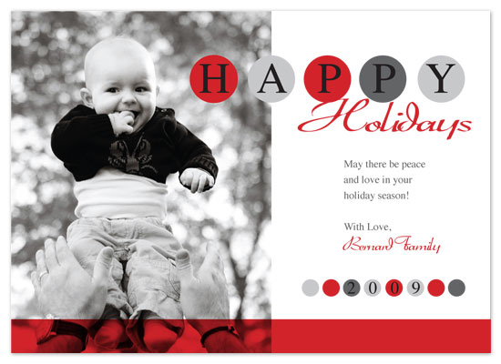 holiday photo cards - BlackandRed Circles  by Amy
